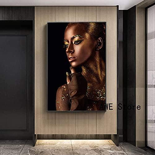 Gymqian Maquillaje Africano Mujer Retrato Lienzo Pintura Negro Dorado Chica escandinavo Pared Arte Imagen Cartel impresión hogar Pared decoración 50x70cm sin Marco