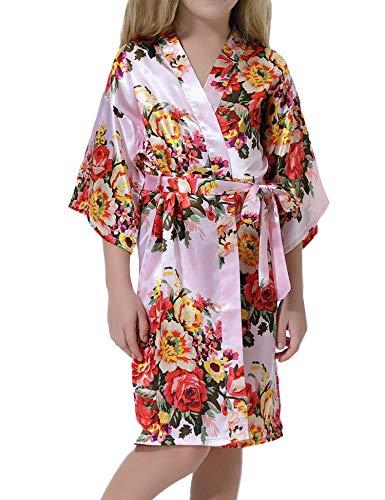 Hawiton Bata Kimono niña,Manga 3/4 Pijamas de Seda con Cinturilla, Albornoz niña,camisón niña Verano para casa,Fiesta,SPA