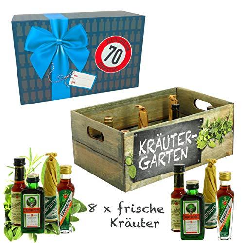 CREOFANT Kräutergarten mit Geburtstagszahl 70. Geburtstag · Witzige Geschenkidee für Männer und Frauen mit Alkohol · 8 x Kräuter-Likör · Hochwertige Geschenkbox · Geburtstagsgeschenk für Männer
