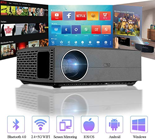 """1080P Native WiFi Projector, 4200 Lumens LED Android Bluetooth Video Projector, Support 4K 300"""" Display, with HDMI, USB, SPDIF, Compatible with TV Stick PS3/4 DVD USB, for Home Office Outdoor"""