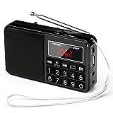 PRUNUS J-429SW Radio Portable FM/AM(MW)/SW/USB/Micro-SD/MP3, Poste Radio avec Grands Boutons et Grand Écran,Radio Portable Rechargeable Batterie 1200 mAh (Noir)