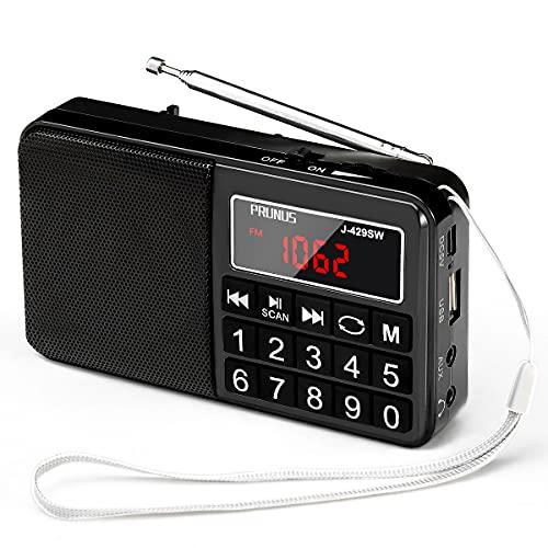 PRUNUS L-238 Radio Portable FM/AM(MW)/SW/USB/Micro-SD/MP3, Poste Radio avec Grands Boutons et Grand Écran,Radio Portable Rechargeable Batterie 1200 mAh (Noir)