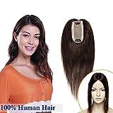 Elailite Extensiones Cabello Naturals Clip Remy Hair Protesis Capilares Flequillo Pelo Natural -[Base GRANDE]- 30 CM #02 Castaño Oscuro (120% Densidad) Hairpiece Pelucas Cortas