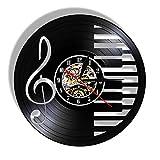 Reloj de Pared Vintage,Reloj Pared de Disco de Vinilo Silencioso Decoración para Habitación Dormitorio Cocina Oficina Bar 30CM。 Piano Musical