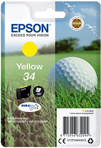 Epson Original 34 Tinte Golfball (WF-3720DWF WF-3725DWF, Amazon Dash Replenishment) gelb