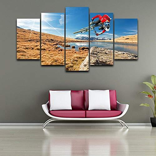 ZJJBH Modulare Wandkunst Bilder Leinwand Hd Gedruckte Malerei 5 Panel Extremsport Mountainbike Poster Modern Home Decor 150X100Cm Kombiniertes Leinwand-Wandplakat Der Leinwandmalerei Zu Hause