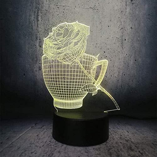 Baby Spielzeug 3D ilusión lámpara led noche luz taza y rosa forma San Valentín s regalo romántico escritorio lava exhibición bombilla exposición flor lámpara de mesa taza