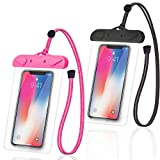 Arae Universal Waterproof Cellphone Dry Bag Phone Pouch Compatible for IPhone 12 Pro 11 Pro Max XS XR X 8 7 Plus Samsung Galaxy S21/20 Up to 7 Inches for Beach Pooling Travel Outdoor 2 Pack Black+Pink