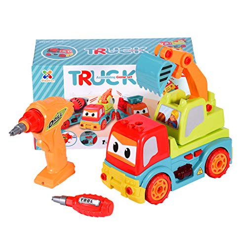 Makkalen Lucky 7!!! DIY Take Apart Excavator Toys-with Electric Drill-Converts to Remote Control Car