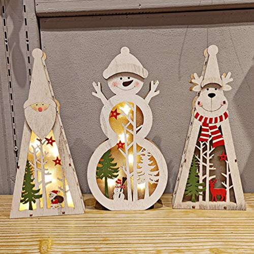 Mobestech addobbi natalizi in legno con luci a led a batteria illuminano pupazzo di neve santa elk...