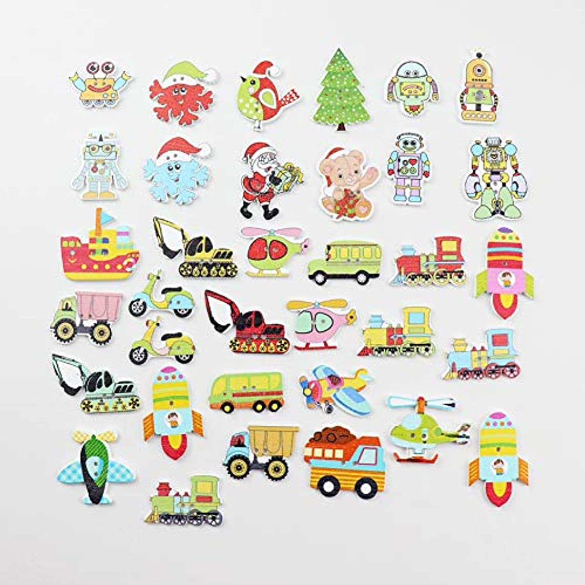 144 Packs Wooden Buttons with 2 Holes Christmas Robot Sewing for DIY Hanmade Craft Scrapbooking Garment Accessories (Christmas 1 Gross Pack)