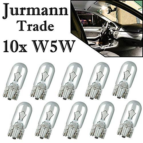 Jurmann Trade GmbH® 10x Stück 12V 5W W5W T10 Glassockel Halogen Lampen Autolampen NEU