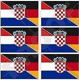 KROATIEN-DEUTSCHLAND Kroatisch-Deutsch Flagge 40mm Mobile, Handy Vinyl Mini Aufkleber, Abziehbilder x6 Stickers