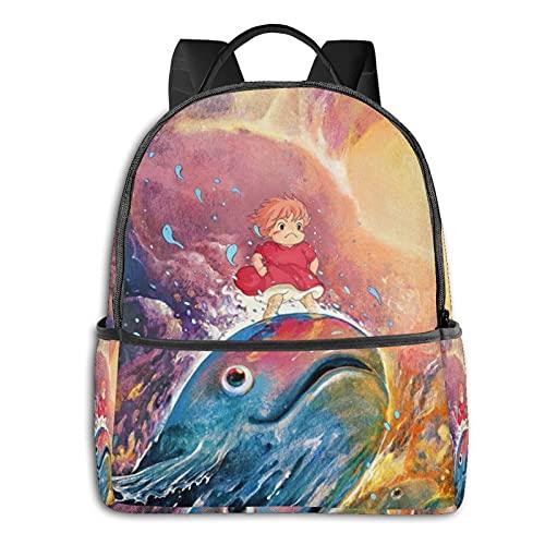 Mochila de anime Ponyo on Cliff para la escuela, al aire libre, ligera, resistente al desgarro, mochila para portátil para niñas y niños adultos