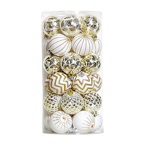 30 palline di Natale, decorazioni da appendere per albero di Natale, decorazioni per feste di nozze, decorazioni (oro bianco)