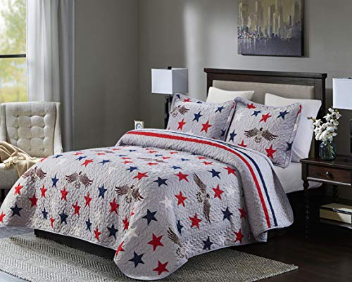 Lorient home 3 piece patriotic oversized full/queen quilt set-america the beautiful bedding, multi