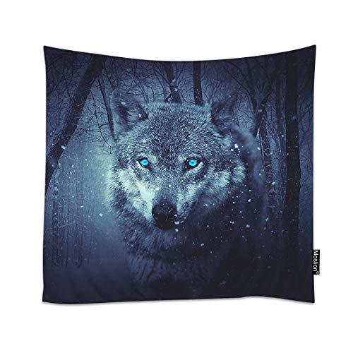Moslion Wolf Tapestry Wild Animal Wolves with Blue Eyes in Forest Tree Snow Field Snowflake Wall Tapestries for Bedroom Large Home Decorative Polyester Tapestries 60x90 Inch
