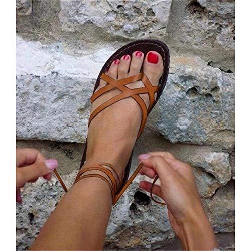 SKYROPNG SandaliasDeLasMujeresBohemias,Naranja Verano Retro Señoras PlayaModaRomanaMujeres GladiadorMujer Sandalias Planas