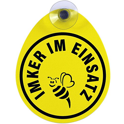 Schild, Autoschild Imker mit Saugnapf, 1,1 mm wetterfestes Material 100 x 120 mm groß, von innen oder außen GREEN