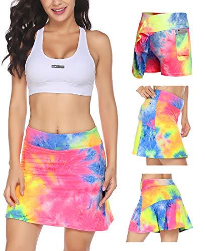 Falda corta de tenis para mujer, con pantalón interior, con bolsillos, para mujer, niña, golf, deporte Aurora XL