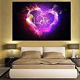 UHvEZ Adult Puzzle 1000PCS_Pink Purple Flame Love_Educational Toy Color Brillante Regalo de cumpleaños Decoración Familiar_50x75cm