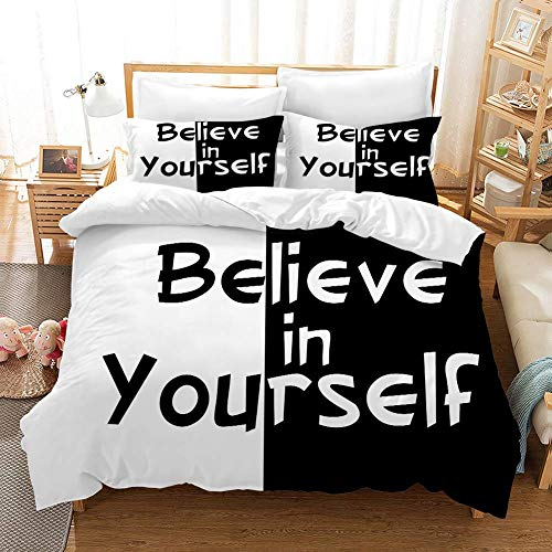 332 Duvet Cover Sets 3D Inspirational Printing Christmas Child Adult Bedding Set 100% Polyester Duvet Cover 3 Pieces With 2 Pillowcases D-GB King91*87'(230 * 220cm)