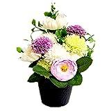 ソープフラワー お供え ポット和花ホワイト 造花 ブーケ 仏花 仏壇 ペット お悔やみ 菊 お供え 枯れない お供え花