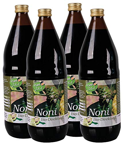 Kopp Vital Bio Noni-Saft - Karton mit 4 x 1l | 100% Noni-Direktsaft | Vegan und Laktosefrei