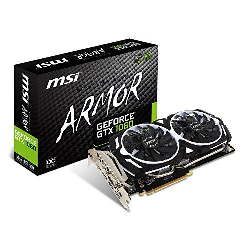 MSI NVIDIA GTX 1060 Armor 3G OCV1 Grafikkarte (HDMI, DP, DL-DVI-D, 2 Slot Afterburner OC, VR Ready, 4K-optimiert)
