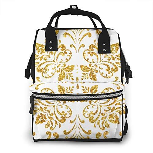 Hoja de oro Azulejo estilo árabe mosaico floral de gran capacidad multifunción momia mochila bebé pañales bolsas para el cuidado del bebé