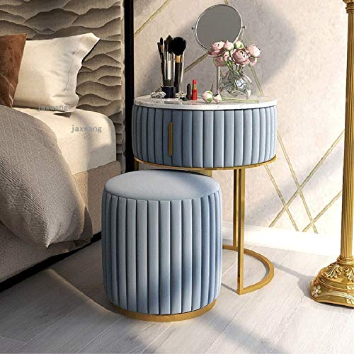 WANZSC Nordic Light - Tocador de lujo con mini tocador, silla para dormitorio, muebles simples de maquillaje (azul)