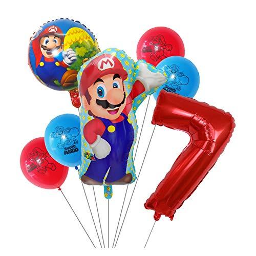 Xx101 Globo 7 unids Super Mario Globos 30 Pulgadas Número 1 2 3 Balloon Boy Cumpleaños Decoración de la Fiesta de la Fiesta de Dibujos Animados Game Theme Party Supplies Kids Toys (Color : Clear)