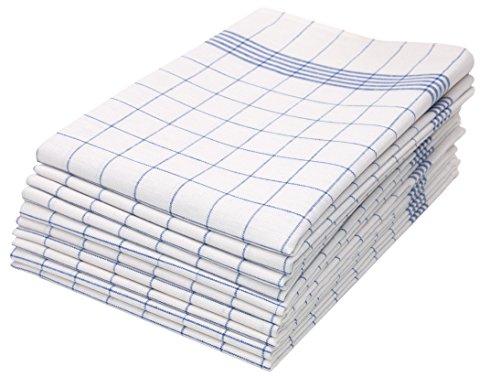 ZOLLNER 10er Set Geschirrtücher, 50x70 cm, 100% Baumwolle, 170 GSM, blau kariert
