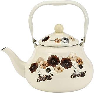 Tea Pot Stovetop Kettles,Enamel On Steel Teapot Floral,Large Porcelain Enameled Teakettle,Colorful Hot Water Tea Kettle Pot For Stovetop Outdoor Whistling Kettle (Color : Ivory, Size : 2l)