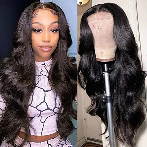 PNEX Lace Front Human Hair Wigs 4x4 Lace Closure Wigs Human Hair 26 Inch Brazilian Body Wave Wig 150% Density Pre Plucked Human Hair Wigs