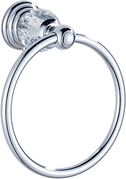 AUSWIND Chrome Towel Ring Clear Crystal Glass Wall Mounted Bathroom Accessories WT