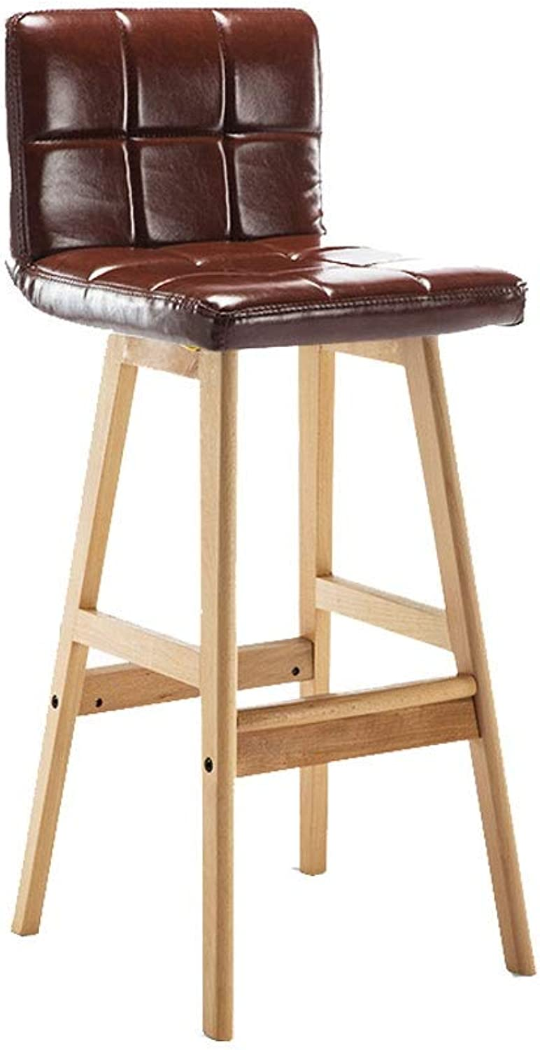 A+ Solid Wood Backrest Dining Chair, Casual High Elastic Sponge Filled Bar Stool, Natural Wood Grain color High Chair, 7 colors (color   Brown)