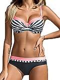 UMIPUBO Mujer Bikini Push-Up Acolchado Bra Trajes de Baño Tops y Braguitas Bikini Sets (ES 38, Estilo2:Rosa)