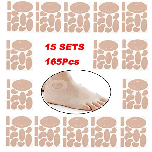 165 Pieces Moleskin for feet blisters Moleskin Tape Anti-wear Heels Stickers Blister Prevention Pads for shoes hiking 11 Shapes 15sets