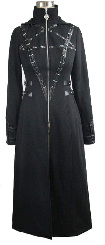 WLM Halloween costume, adult steampunk gothic slim metal decorative jacket, women's windbreaker hood