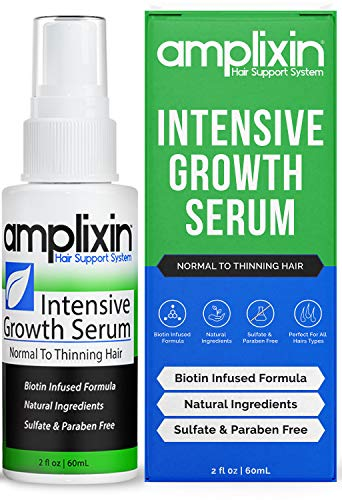 Amplixin Intensive Biotin Hair Growth Serum - Hair Loss Prevention Treatment For Men & Women With Thinning Hair - Sulfate-Free Dht Blocker For Receding Hairline & Pattern Baldness, 2Oz