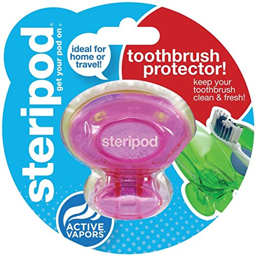 Steripod Clip-On Toothbrush Sanitizer, Colors May Vary, 2-Pack