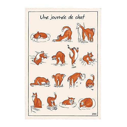 Winkler – Torchon imprimé Journée de Chat - 72x48 cm – Fabriqué en France - Serviette chiffon nettoyage vaisselle – Linge de cuisine et restauration – 100% coton absorbant