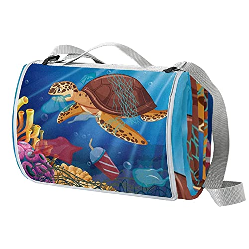 Vito546rton Impermeable portátil al aire libre amor ambiente mar tortuga coral pescado impresión picnic manta Mat con correa para acampar senderismo hierba viajes 57x59in