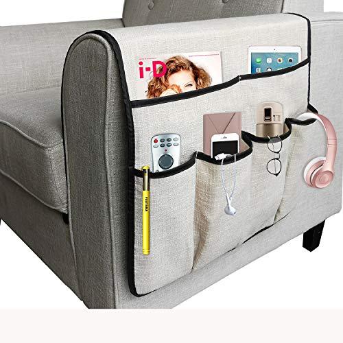 NGLVKE - Grande organizer per divano, porta telecomando TV, antiscivolo, con 6 tasche per riviste, libri, cellulare, iPad, Lino PVC, Beige, 19.7*35 inch