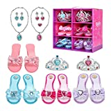 Hapgo Princess Dress Up Role Play Shoes and Jewelry Boutique Fashion Accessories, Includes 4 Pairs Shoes 2 Tiaras 2 Necklaces and Earrings for Toddler Girls Birthday Party Cosplay Costumes