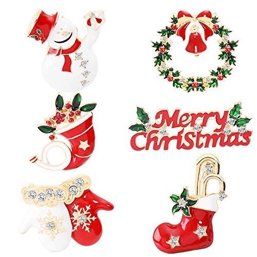 Weihnachtsschmuck 6pcs Pin Set Weihnachten Brosche Merry Christmas für Frauen Mädchen Männer Weihnachten Geschenk