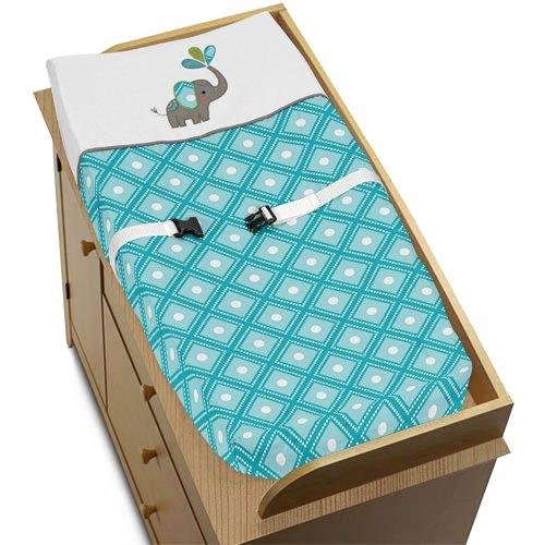 Sweet Jojo Designs - Funda para cambiador, diseño de elefante, color turquesa, blanco y gris