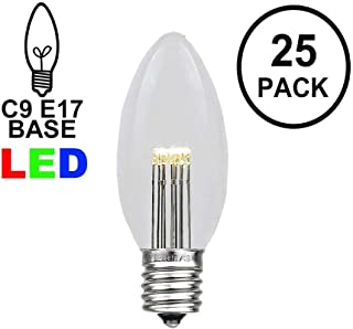 Novelty Lights 25 Pack C9 LED Outdoor Christmas Glass Replacement Bulbs, Warm White