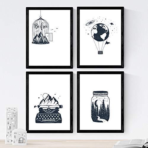 Nacnic Set di 4 Stampe artistiche in bianco e nero. tema foresta selvaggia, mongolfiera montagne macchina da scrivere natura. foreste bosco. Stile nordico e scandinavo. 250 Grammi di Alta Qualità. .